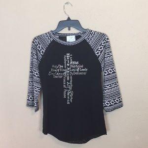 L & B Life Inspirational Tee Aztec Print Sleeves